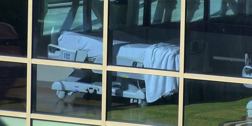 A hospital bed sits empty at CHRISTUS Mother Frances in Tyler.